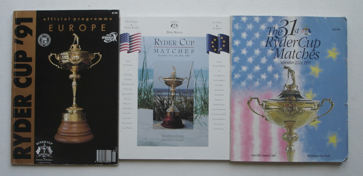 Image for Ryder Cup Matches, Lot of 3 Official Programs, 1991 & 1995