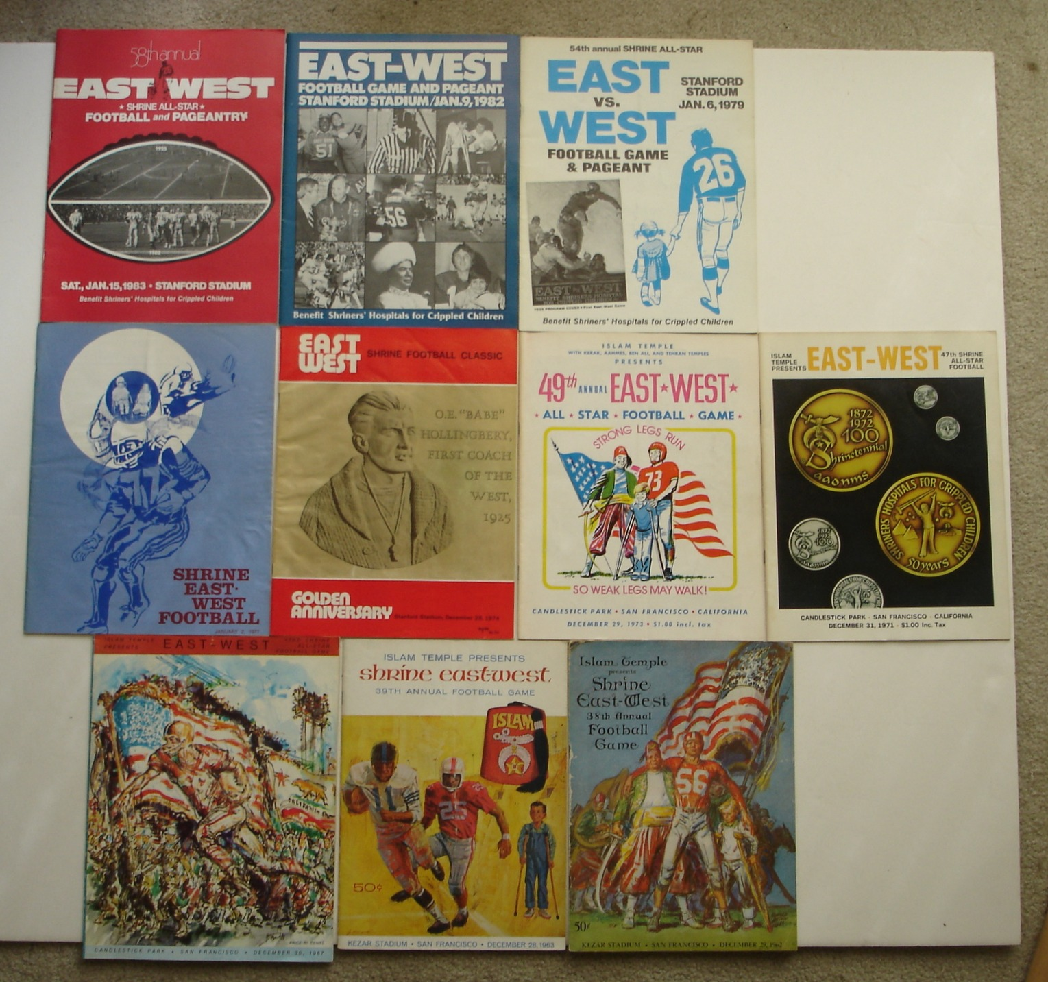 Image for Lot of 10 Shrine East-West College Football Game Programs