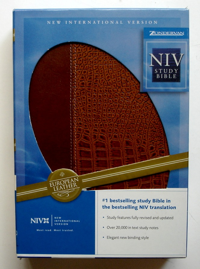 Image for Zondervan NIV Study Bible, Boxed, European Leather: British Tan / Alligator Tan